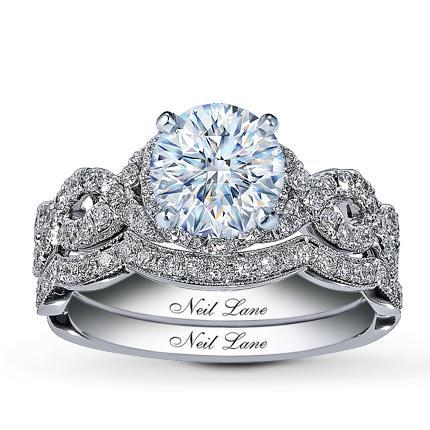 Neil lane bridal setting 7 8 ct tw diamonds 14k white gold for Kay com personalized jewelry